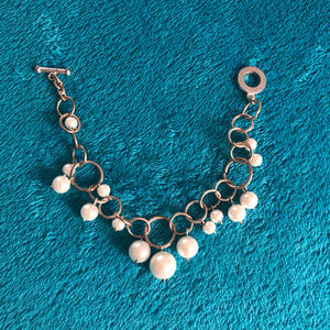 Jewelry - Silver Loop Chain Bracelet with Dangling Pearls